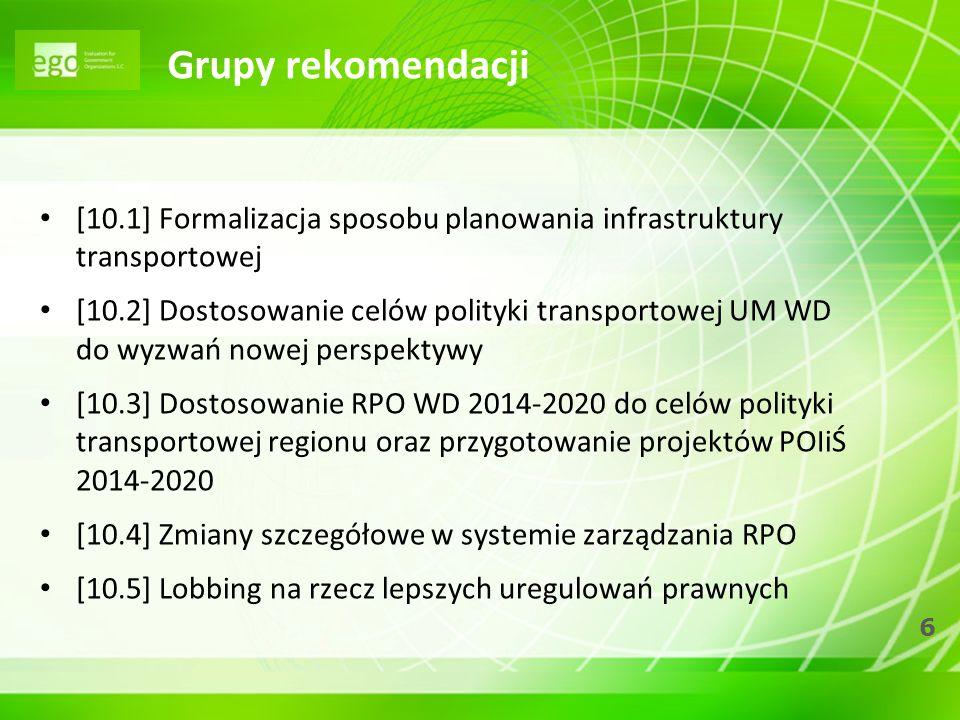 Grupy rekomendacji [10.1] Formalizacja sposobu planowania infrastruktury transportowej.